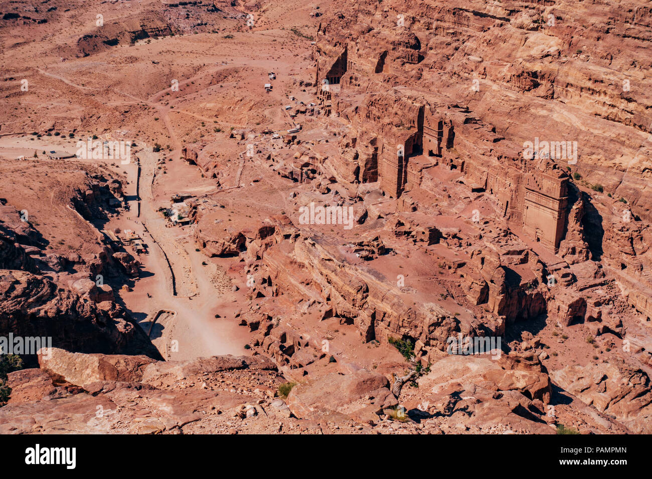 an aerial view of some of the rock face tombs in the Lost City of Petra, Jordan Stock Photo
