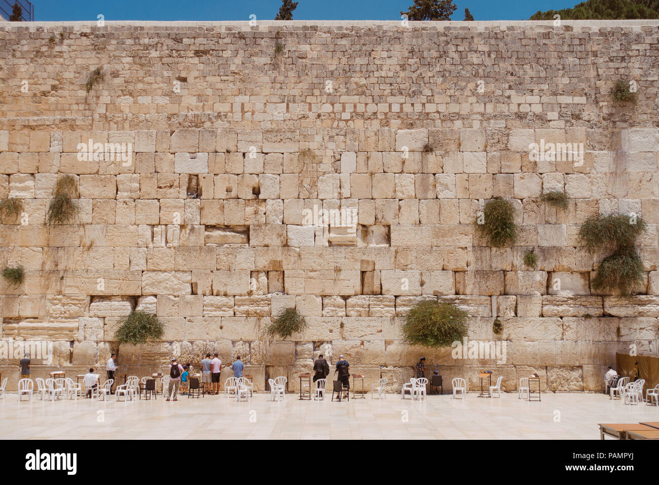 a square-on view of the male section of the Wailing Wall, Jerusalem, Tel Aviv - Stock Image