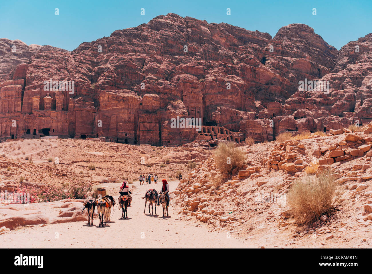 men on mules trek down the main path in front of the tombs in the Lost City of Petra, Jordan - Stock Image