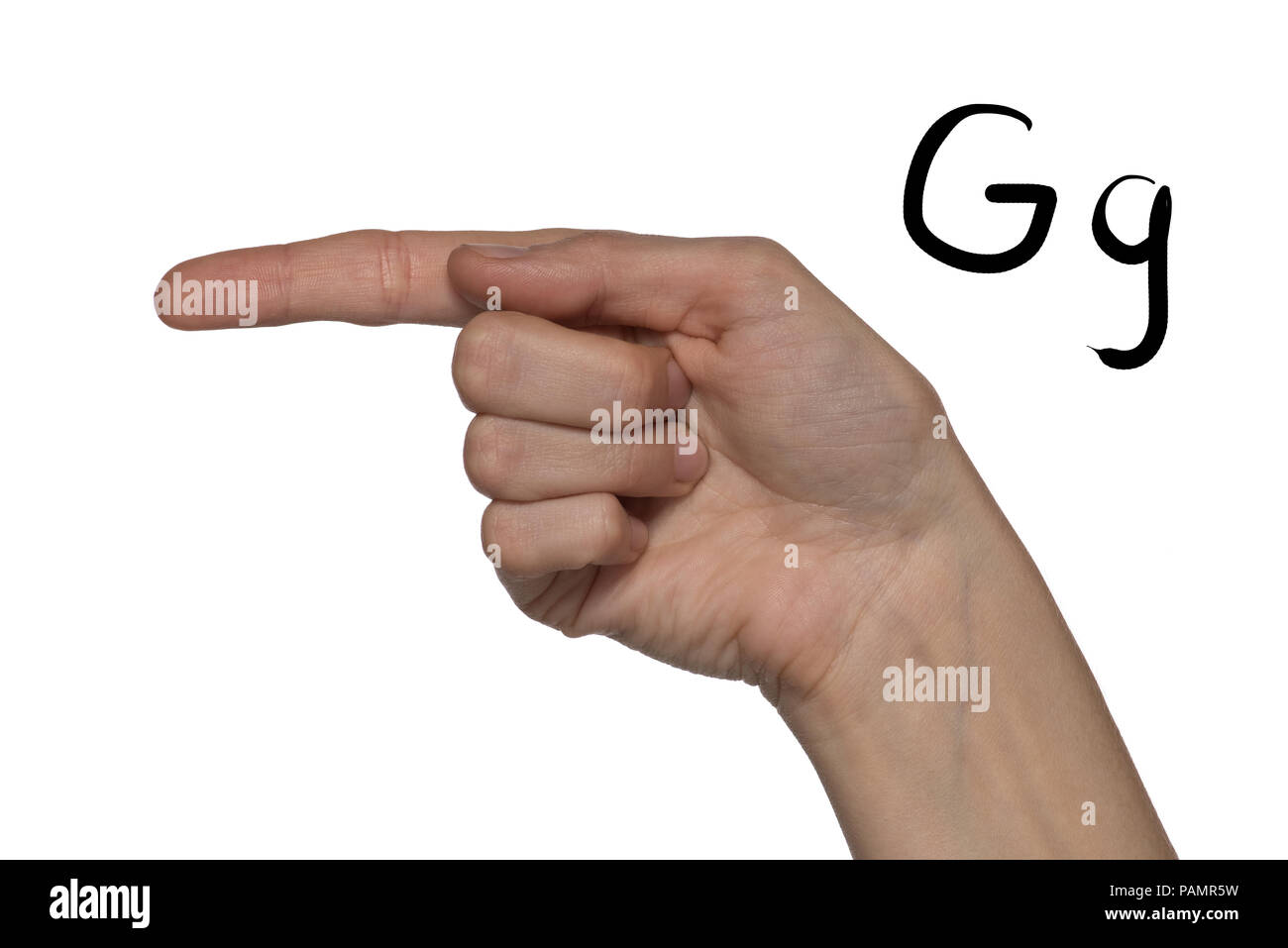 Alphabet for deaf-mutes people with hand gestures and a number letter on a white background - Stock Image