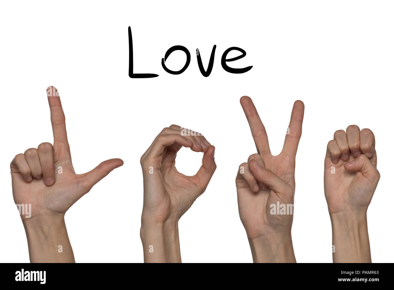 A word of love shown by hands in English on an alphabet for the deaf mute on a white background - Stock Image
