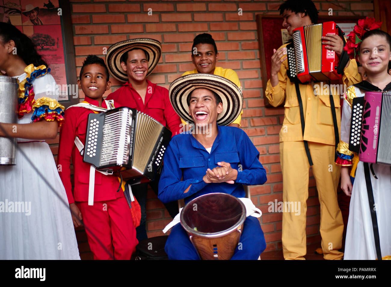 Andres 'Turco' Gil's accordion academy trains young children in the music of vallenato, many of them are refugees from violence or live in poverty Stock Photo