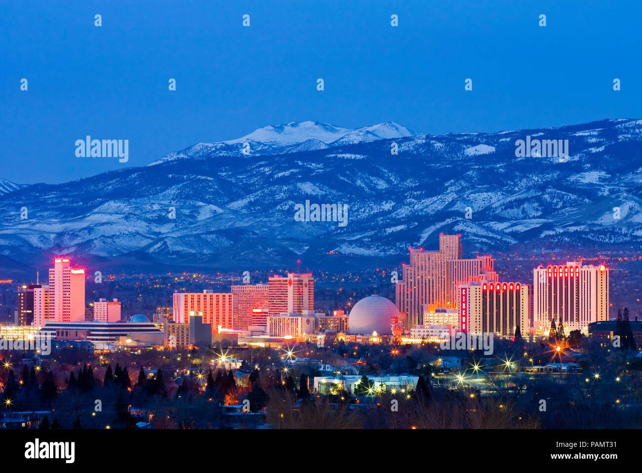 Reno skyline at night - Stock Image