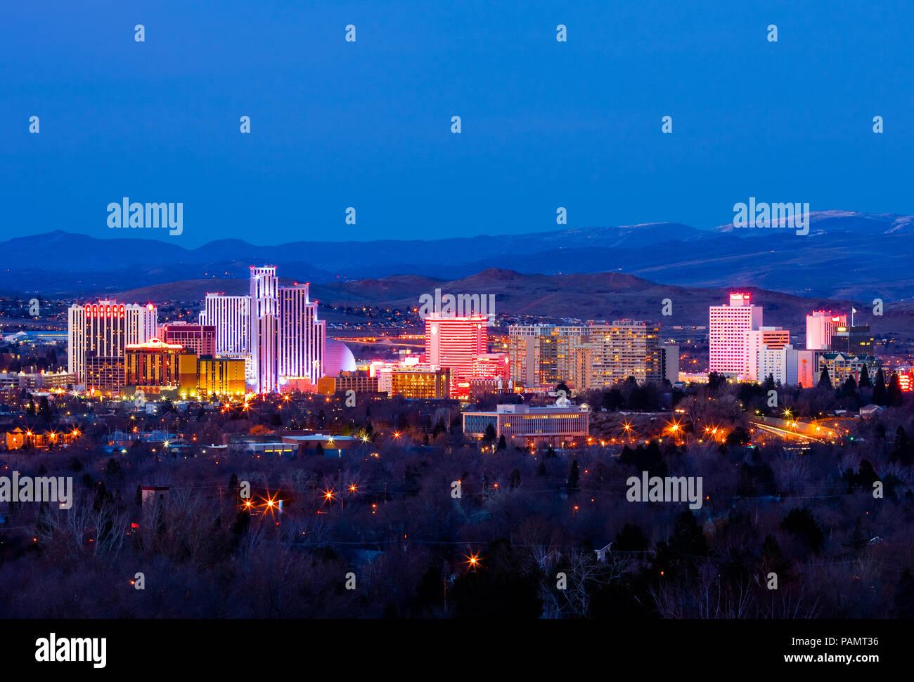 Reno Nevada at night - Stock Image