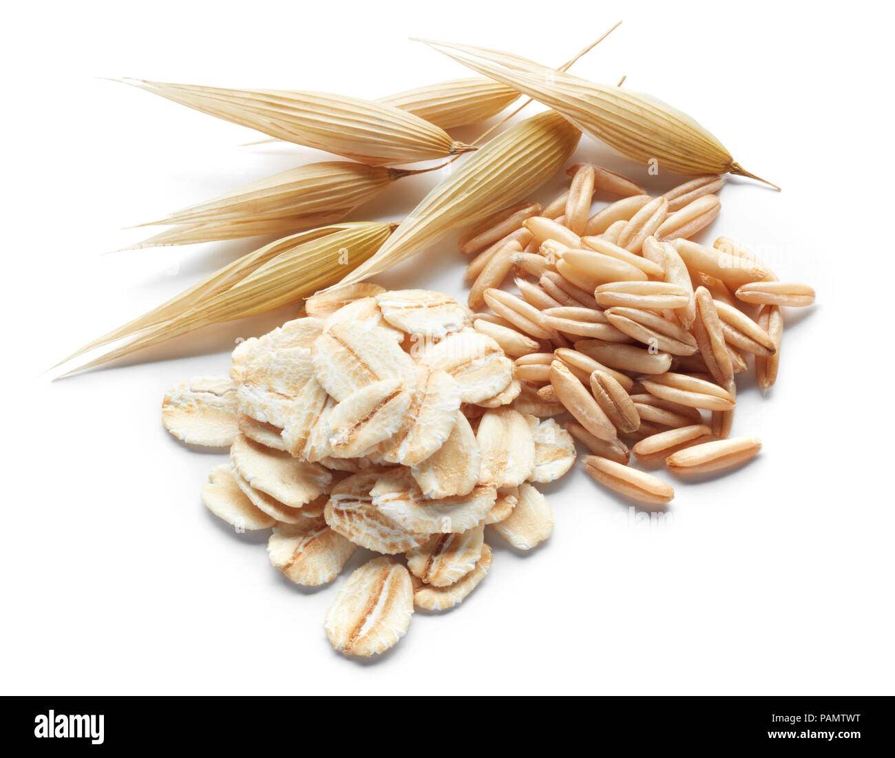 processed, unprocessed and crops of oat isolated on white - Stock Image