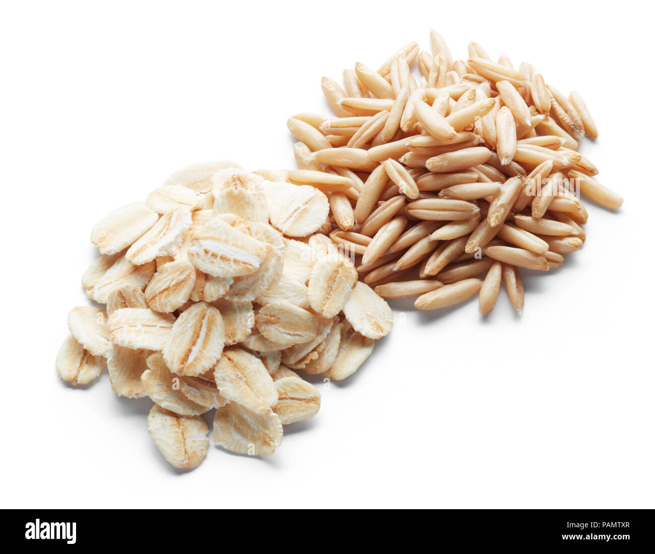 processed and unprocessed oats isolated on white - Stock Image