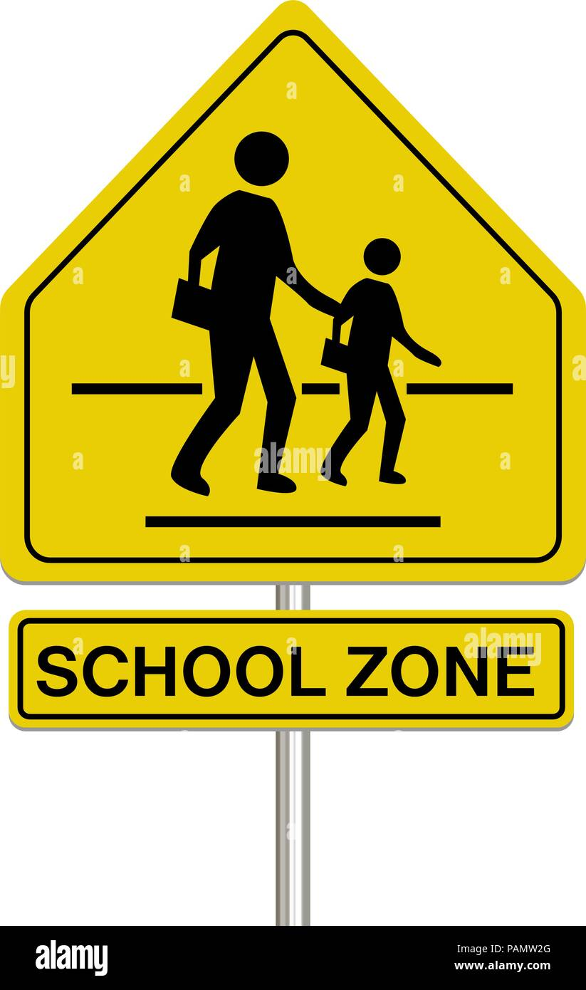Citaten School Zone : School zone sign on a white background stock vector art