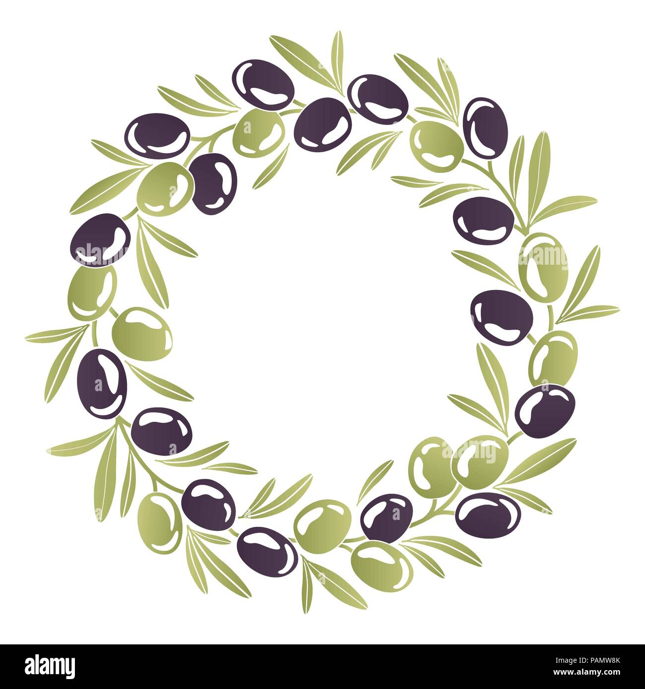 Round ornament Wreath of black and green olives - Stock Image