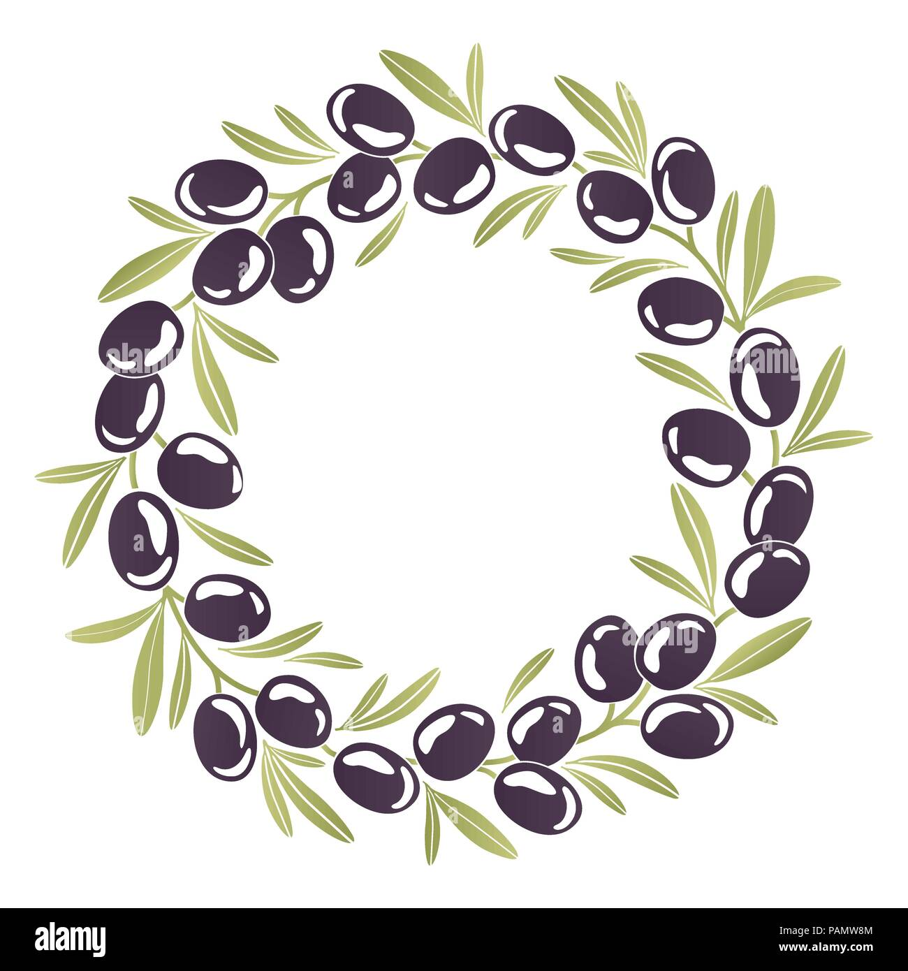 Round ornament Wreath of black olives - Stock Image