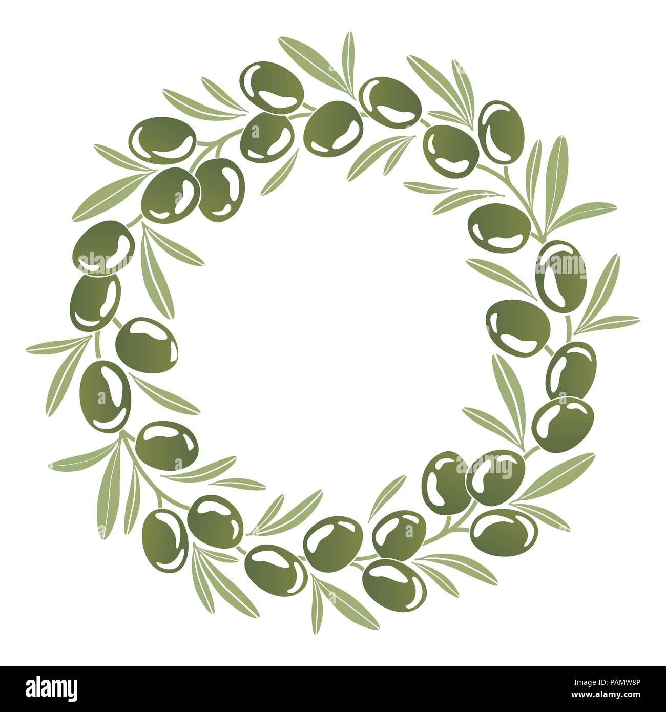 Round ornament Wreath of green olives - Stock Image