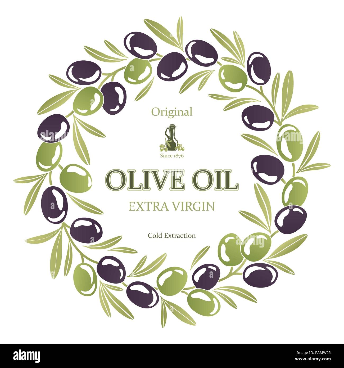 Label for olive oil wreath of black and green olives - Stock Image