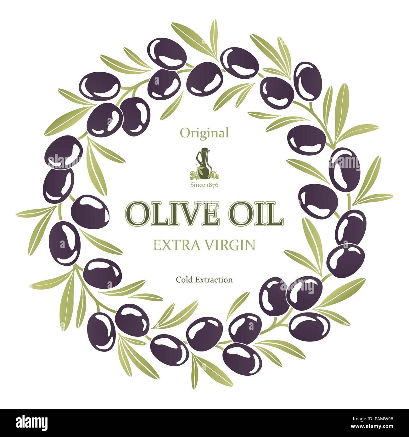 Label for olive oil wreath of black olives - Stock Image