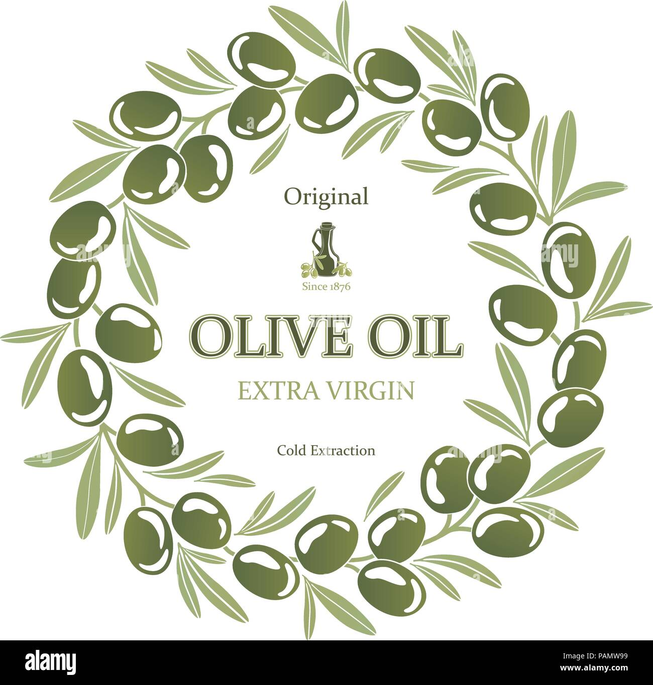 Label for olive oil wreath of green olives - Stock Image