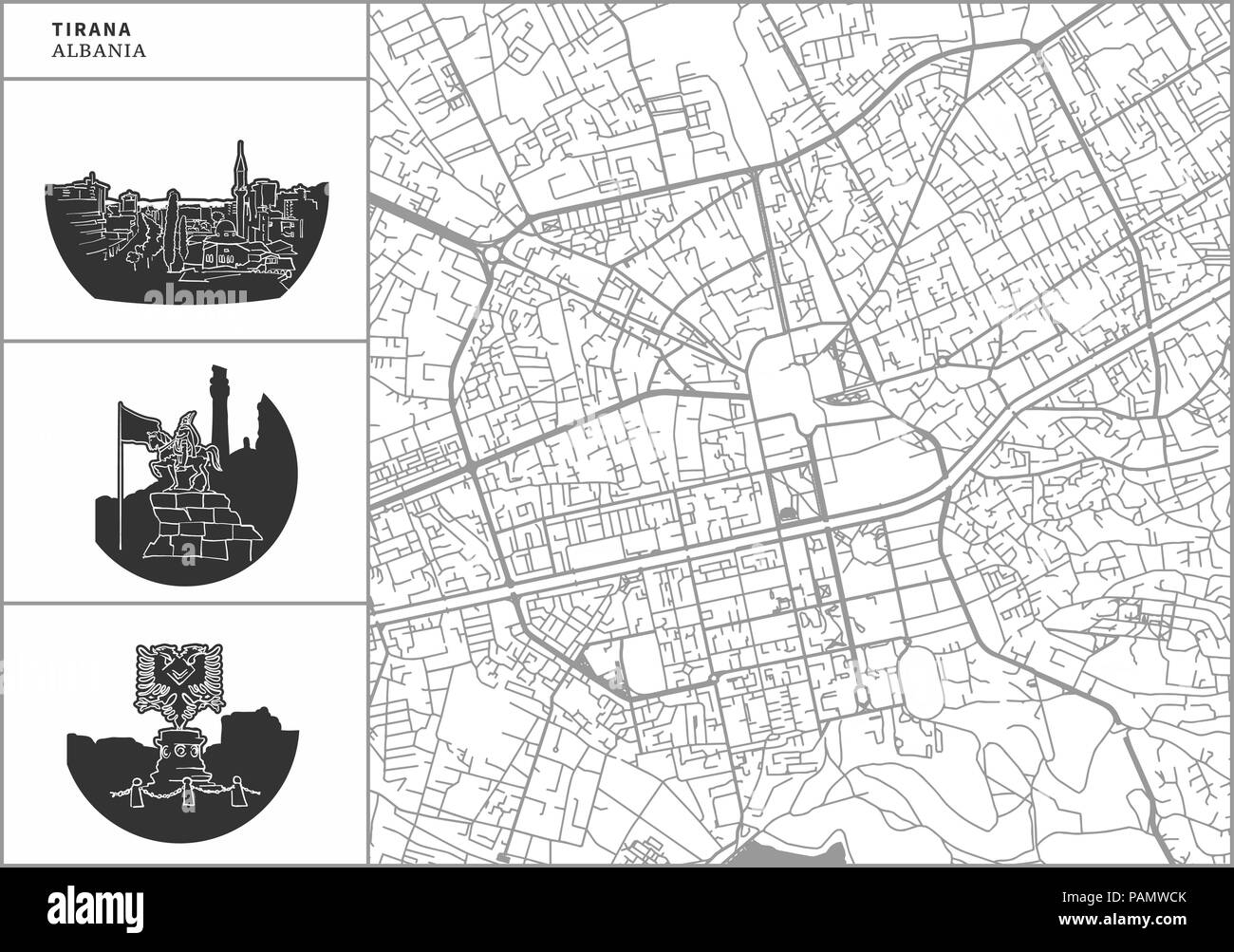 Tirana city map with hand-drawn architecture icons. All drawigns, map and background separated for easy color change. Easy repositioning in vector ver - Stock Vector