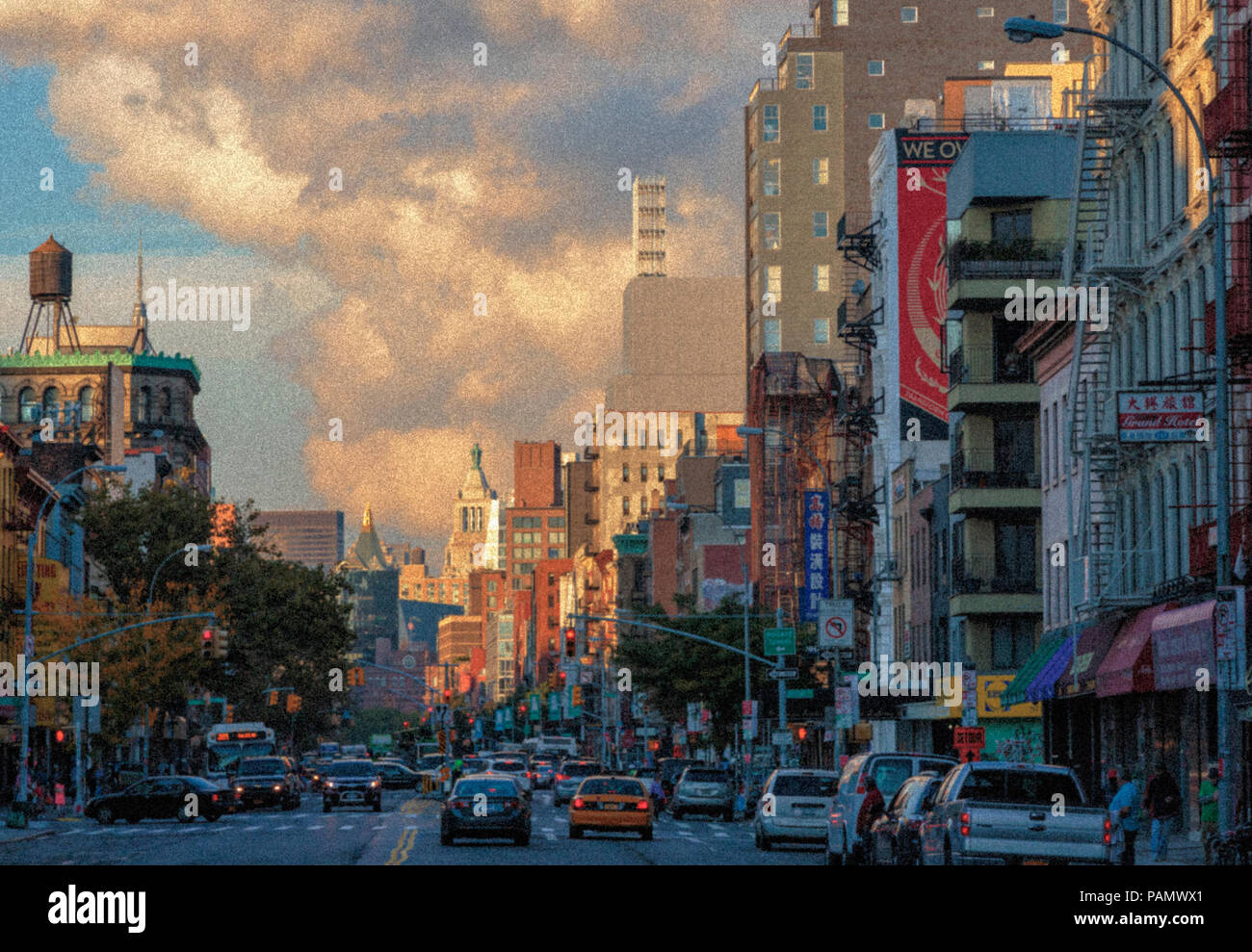 New York, New York State, United States of America.  View down The Bowery. - Stock Image