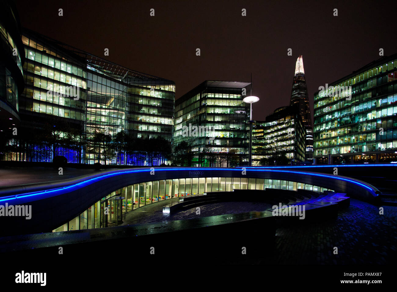 London Assembly on the Southbank at night - Stock Image