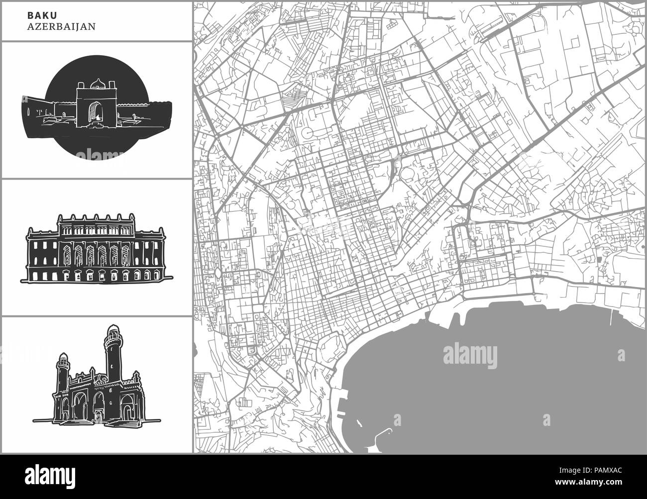 Baku city map with hand-drawn architecture icons. All drawigns, map and background separated for easy color change. Easy repositioning in vector versi - Stock Vector