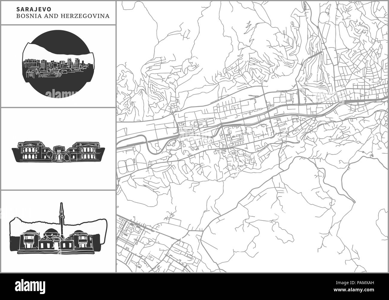 Sarajevo city map with hand-drawn architecture icons. All drawigns, map and background separated for easy color change. Easy repositioning in vector v - Stock Vector