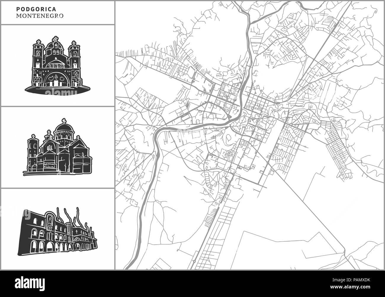 Podgorica city map with hand-drawn architecture icons. All drawigns, map and background separated for easy color change. Easy repositioning in vector  Stock Vector