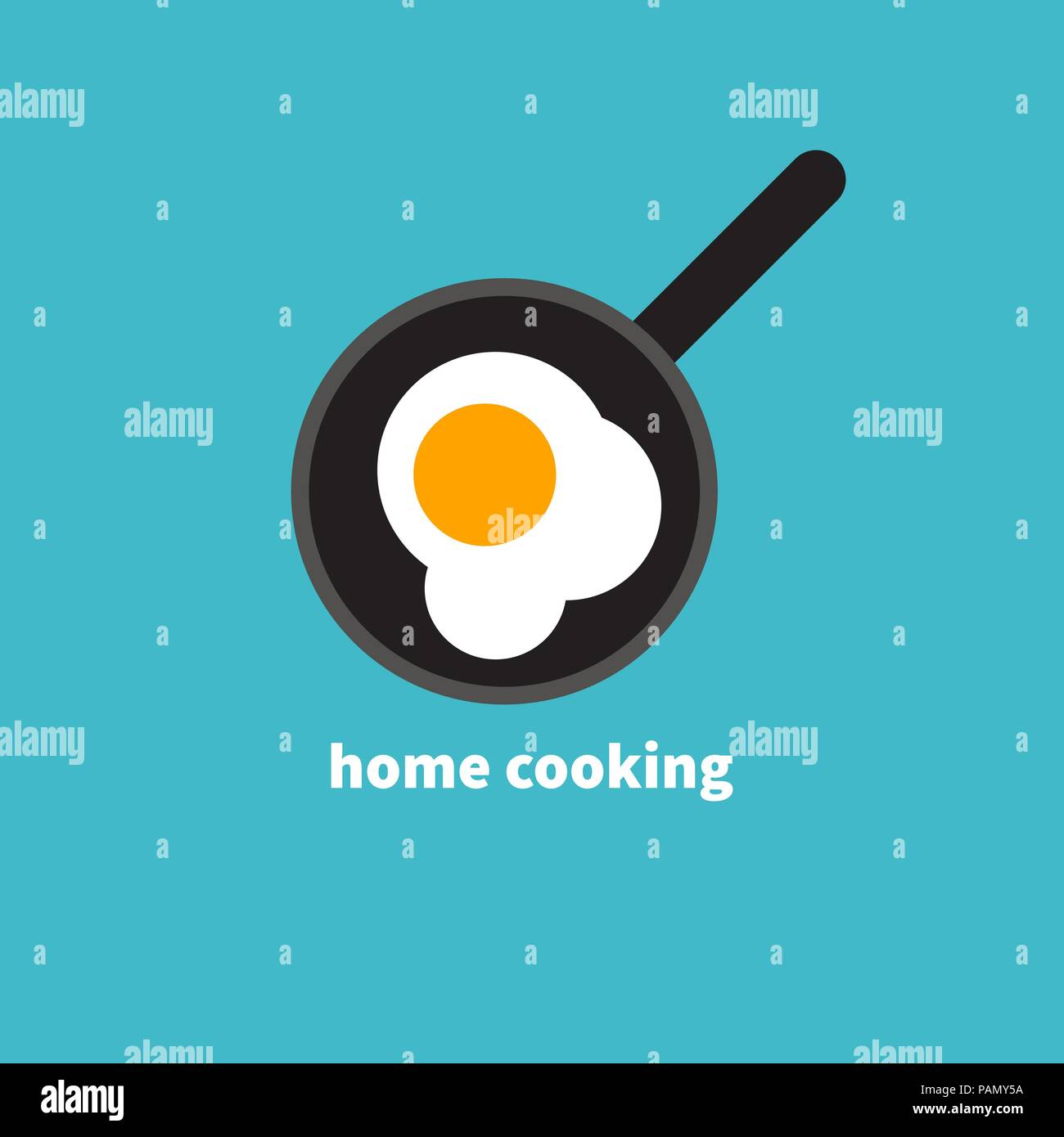 Home cooked food, fried eggs, fried eggs in frying pan, healthy breakfast, home cooking breakfast in cafe, omelet icon. Vector illustration - Stock Vector