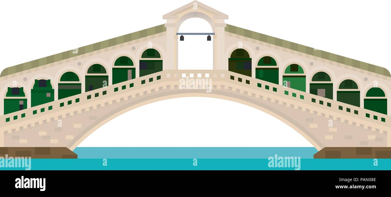 Flat design isolated vector icon of Rialto Bridge over Grand Canal at Venice, Italy - Stock Vector