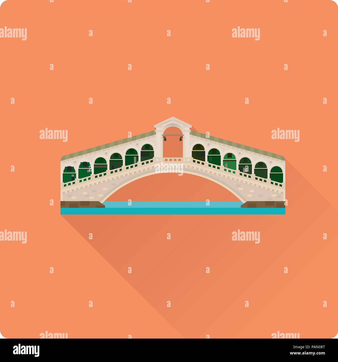 Flat design long shadow vector illustration of Rialto Bridge over Grand Canal at Venice, Italy - Stock Vector