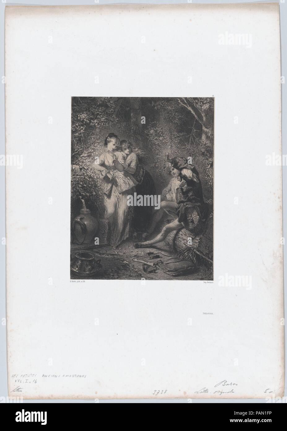 Seduction. Artist: Henri-Charles-Antoine Baron (French, Besançon 1816-1885 Geneva). Dimensions: Sheet: 17 5/8 × 12 5/16 in. (44.8 × 31.3 cm)  Image: 8 1/8 × 6 3/8 in. (20.7 × 16.2 cm). Printer: Bertauts. Series/Portfolio: Les Artistes Anciens et Modernes. Date: 1850. Museum: Metropolitan Museum of Art, New York, USA. - Stock Image