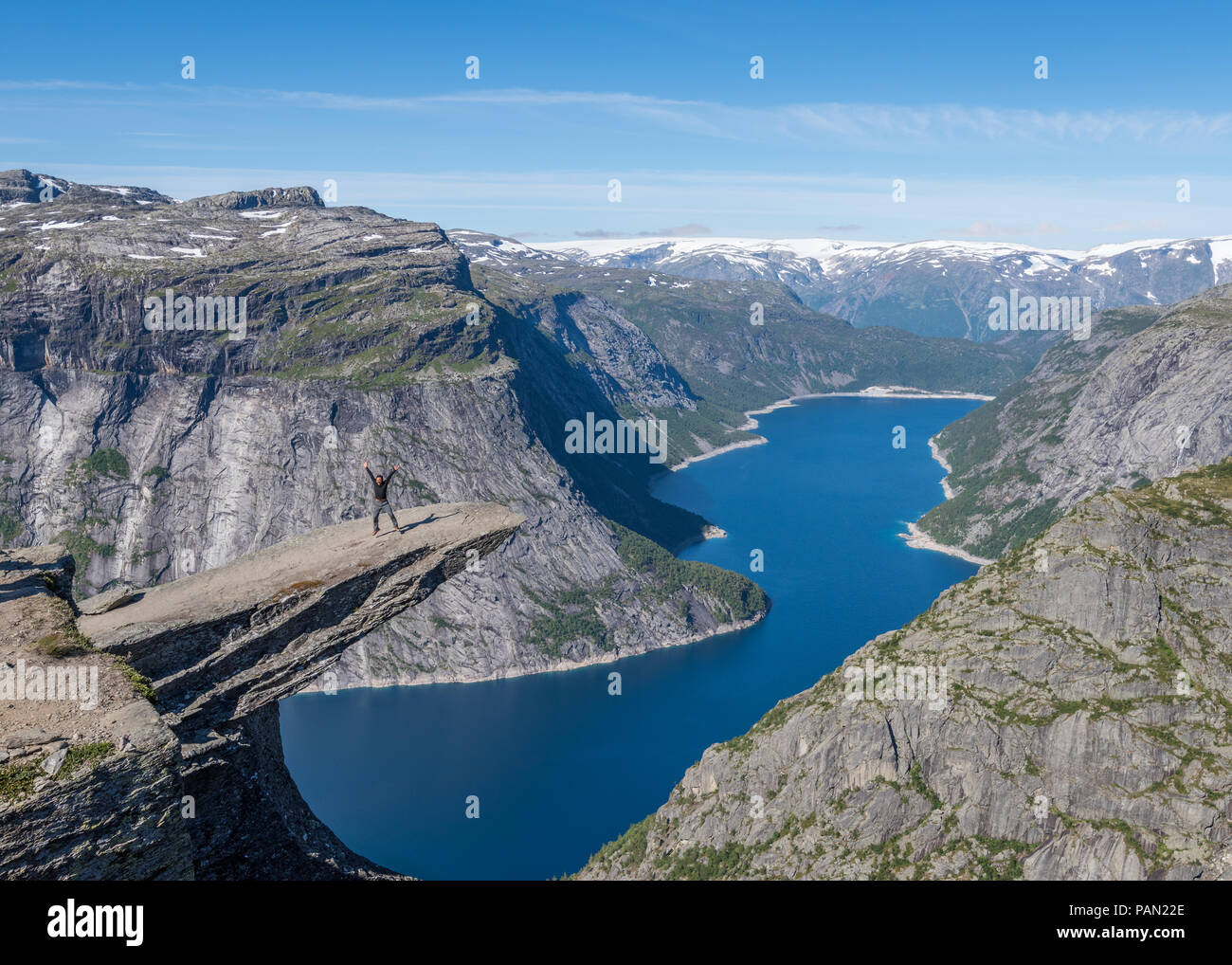 A summer's day at Trolltunga in Norway - Stock Image