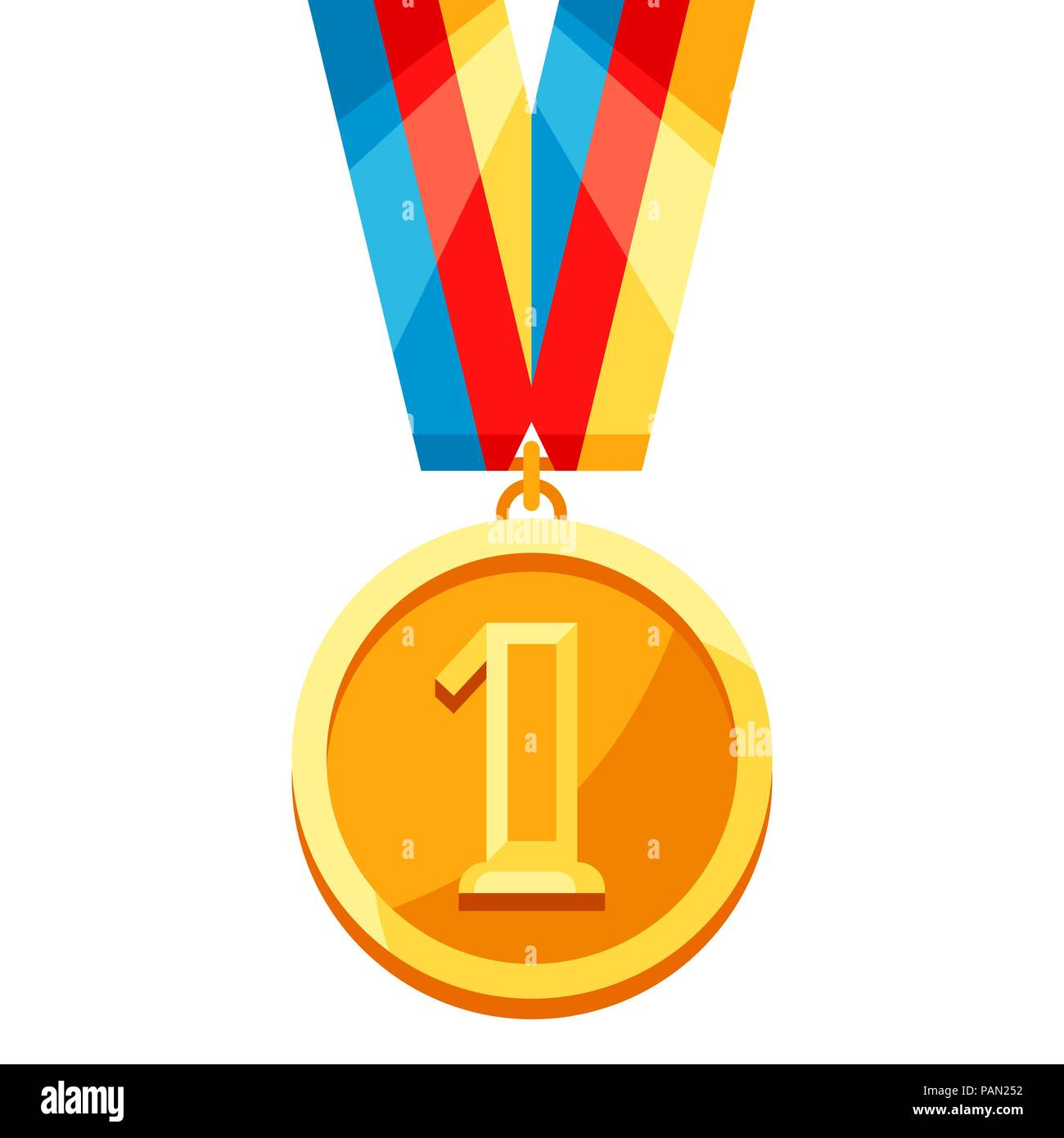 Gold medal with multi colored ribbon. - Stock Vector