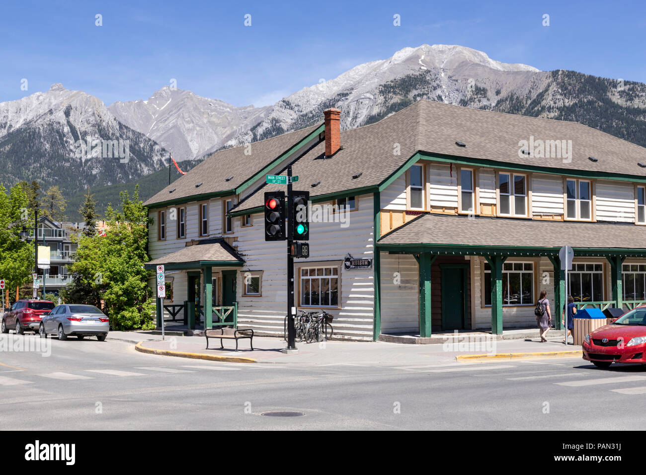 The museum and civic centre in the town of Canmore on the western edge of the Rocky Mountains, Alberta, Canada - Stock Image
