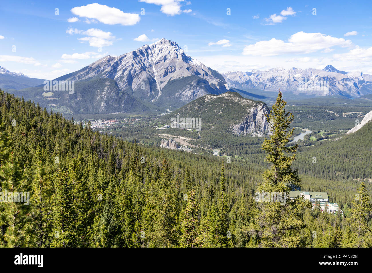 The Rimrock Resort Hotel photographed from the Banff gondola in the Rocky Mountains, Banff, Alberta, Canada Stock Photo