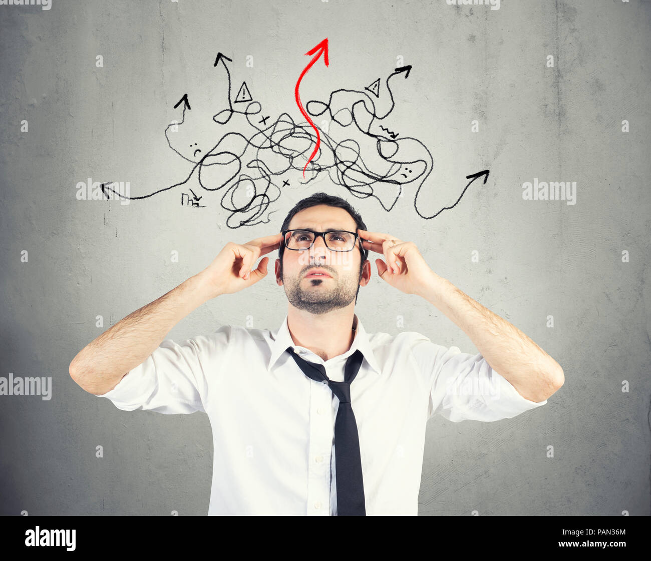 Confused businessman found the way of the solution - Stock Image