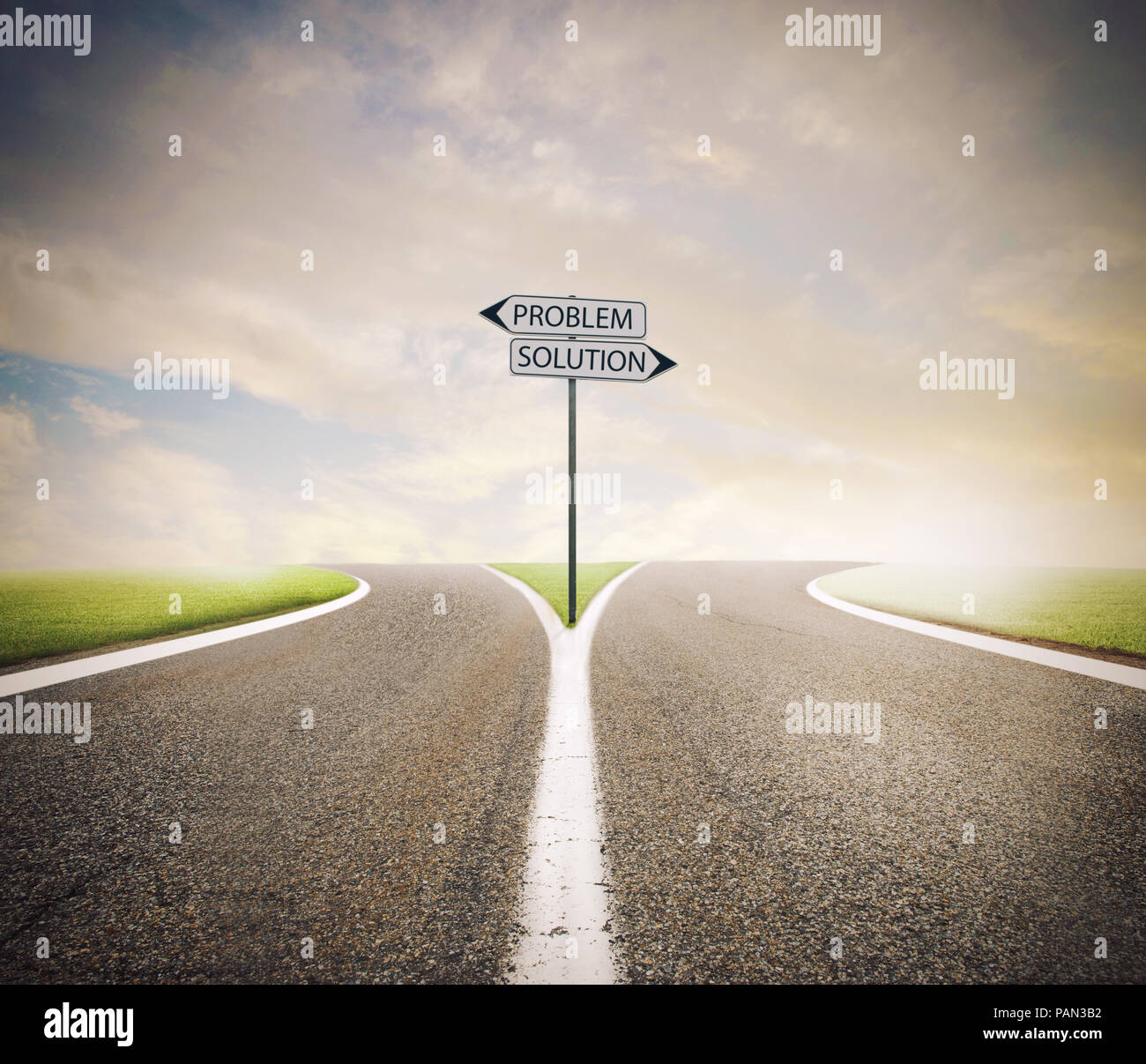 Problem and solution way. Choose the right way Stock Photo