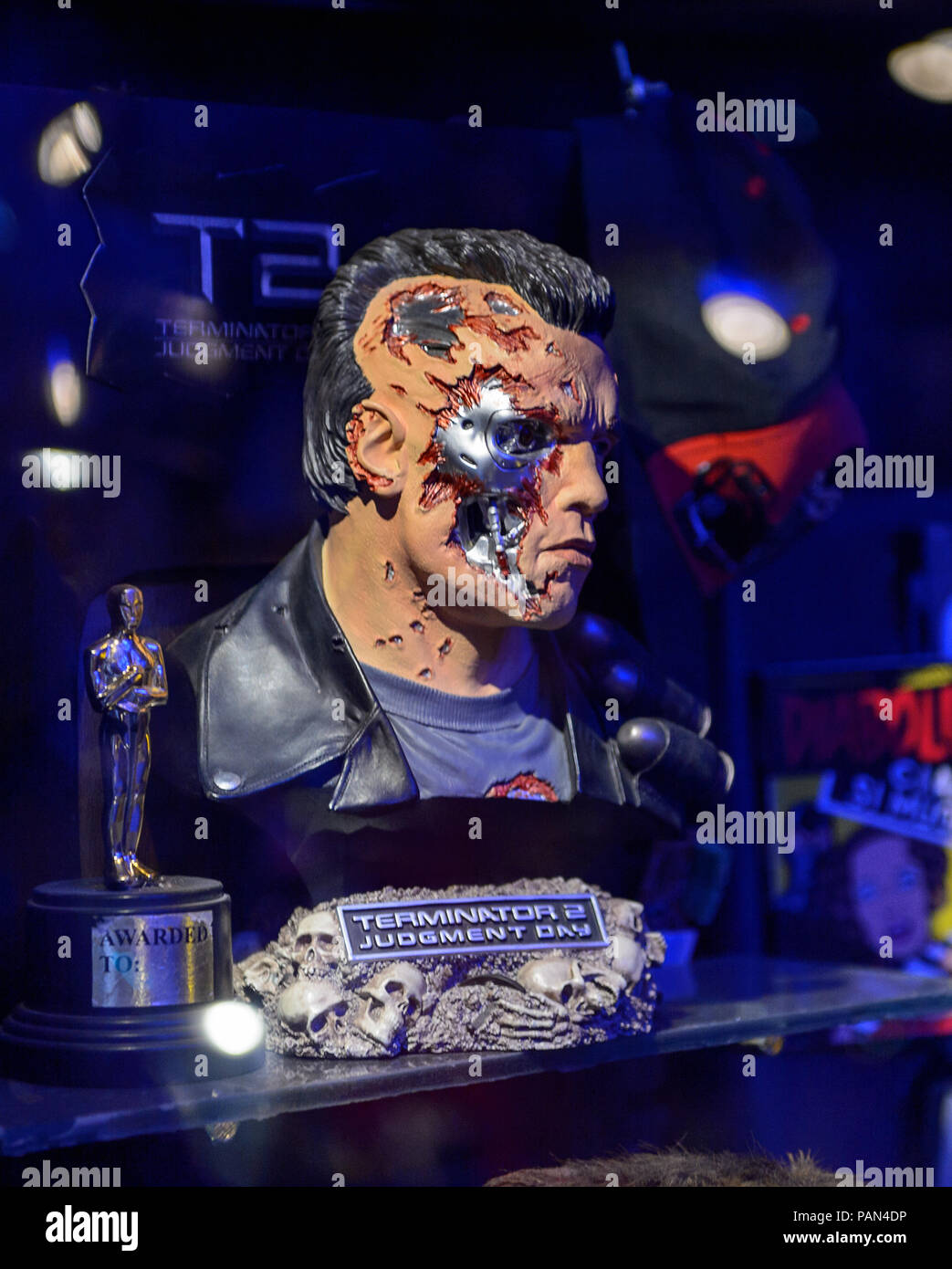 GENOVA, ITALY - MAY 4, 2016: Terminator T-800, International cinema museum in Genova, Italy. Museum with collections about the popular Hollywood movie - Stock Image