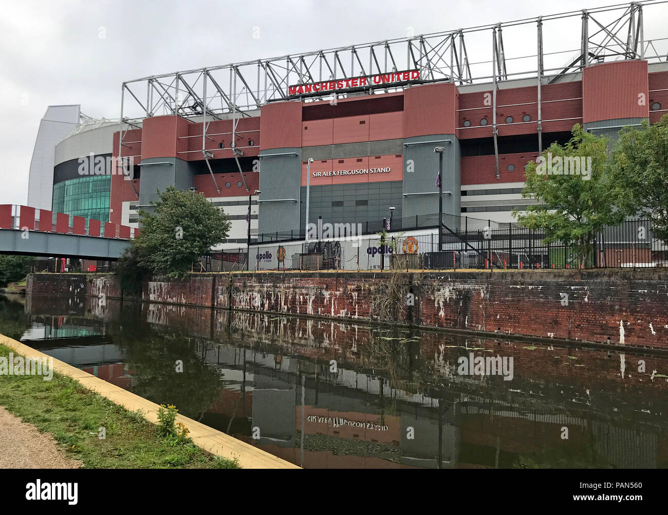 Manchester United Football Club,MUFC, Alex Ferguson stand,from canal, Stretford, Manchester, North west England, UK - Stock Image