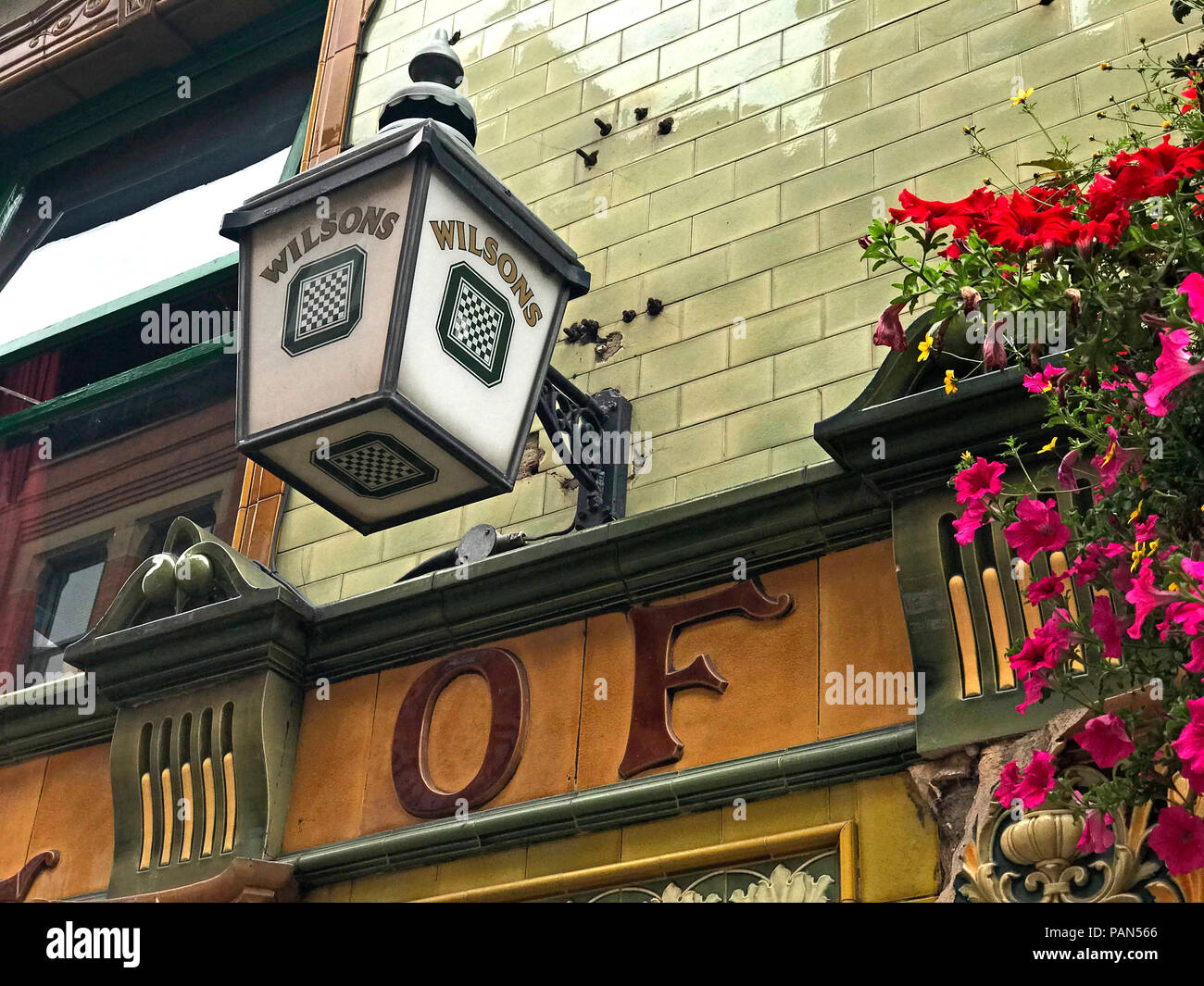 Wilsons Brewery Lamp, Peveril Of The Peak pub, Great Bridgewater Street, Manchester, North West England, UK - Stock Image