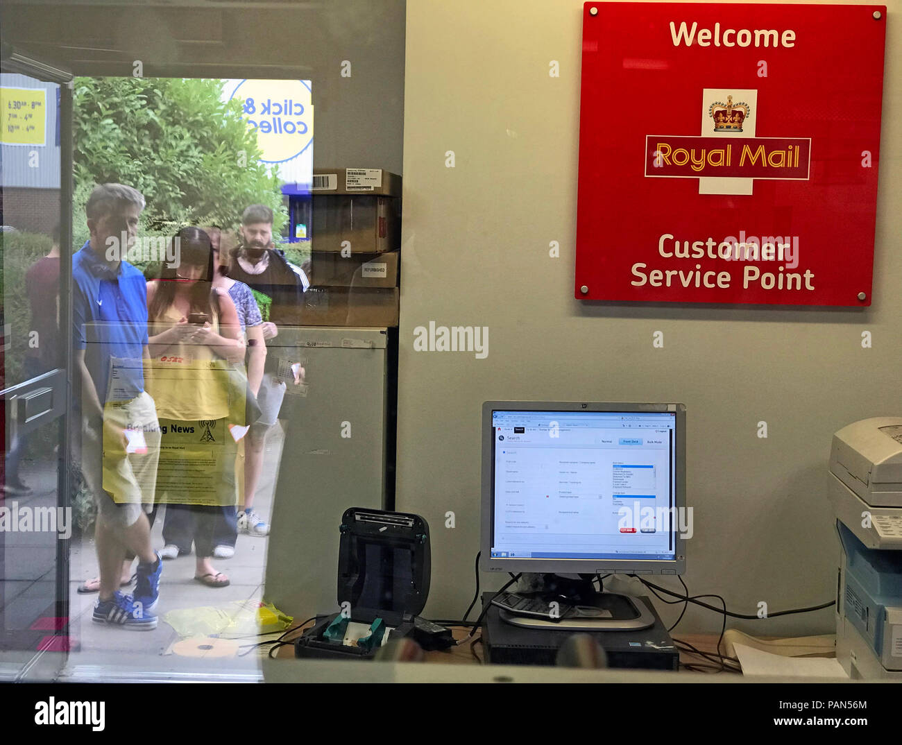 Queues at Warrington Royal Mail sorting office, Cheshire, North West England, UK - Stock Image