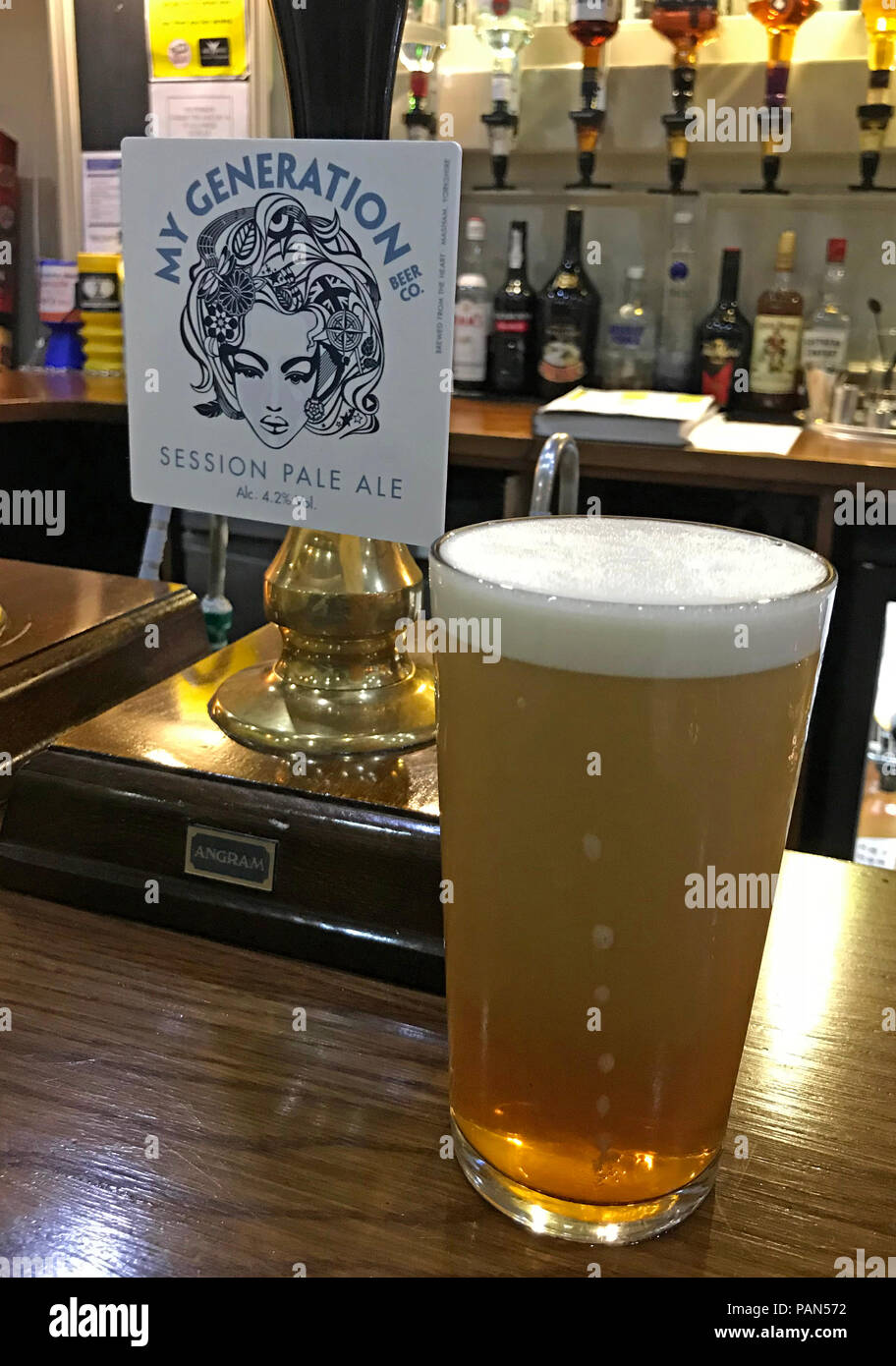My Generation Session Pale Ale IPA, bar pump, Grappenhall, North West England, Stock Photo