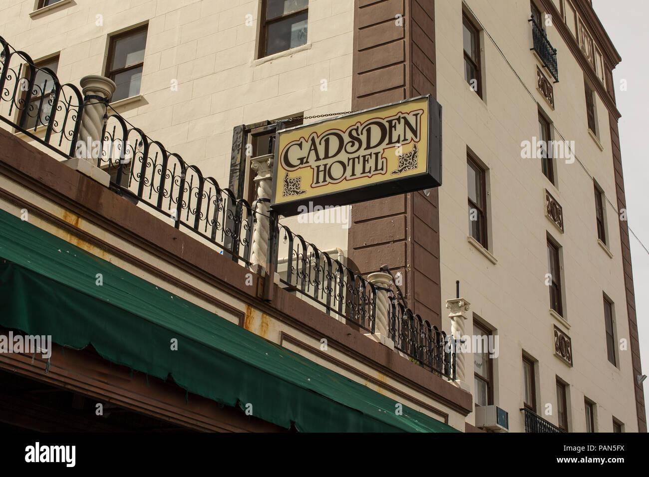 Sign on side of hotel Douglas AZ Released - Stock Image