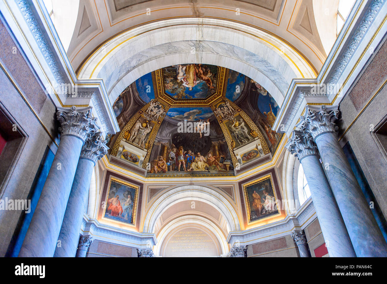 VATICAN, VATICAN CITY - MAY 7, 2016: Frescoes at the ceiling at the Vatican Museum. It was established in 1506 - Stock Image