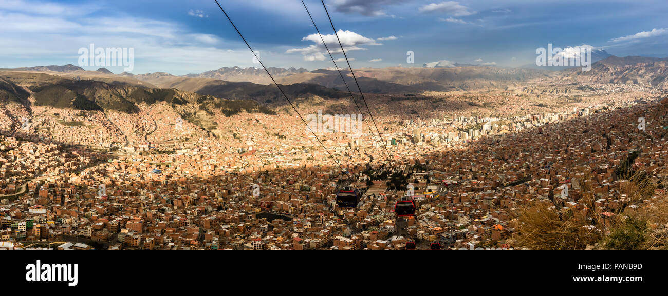 Panorama of la Paz as seen from el alto - Stock Image