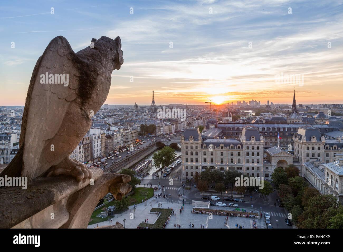 France, Paris, View from Notre Dame de Paris, city view at sunset - Stock Image