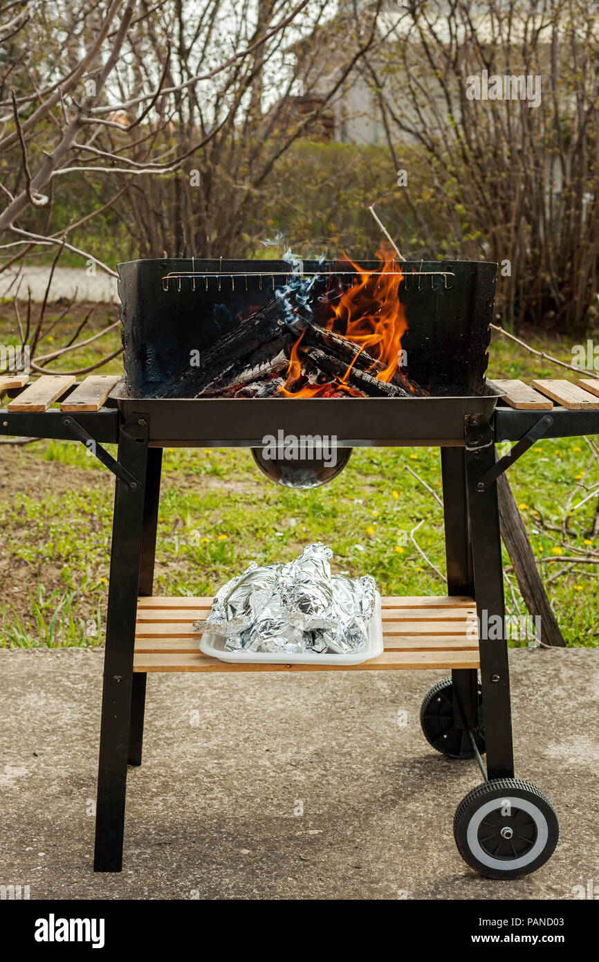 Barbecue grill with fire on nature, outdoor picnic - Stock Image