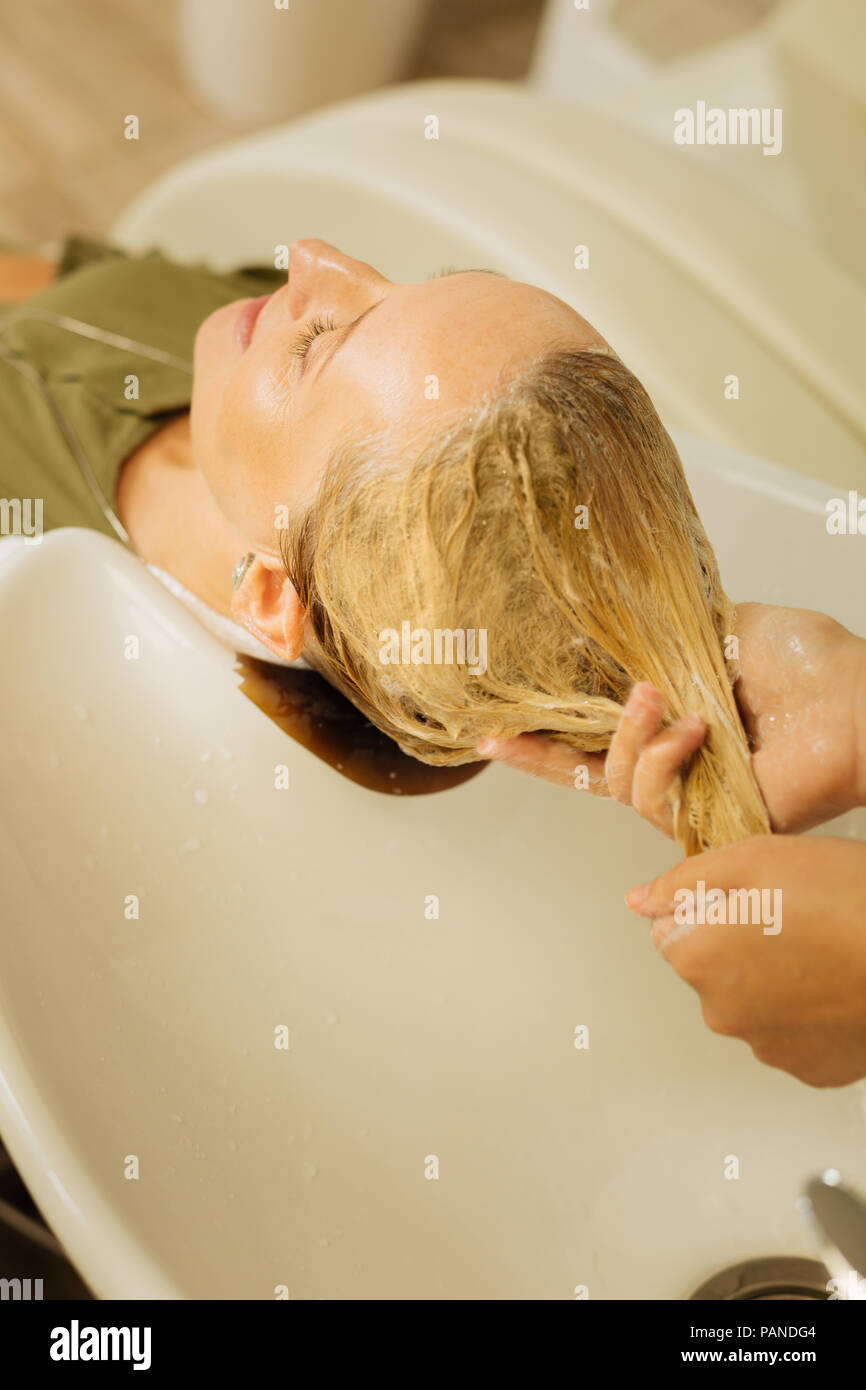 Close up of female hair Stock Photo
