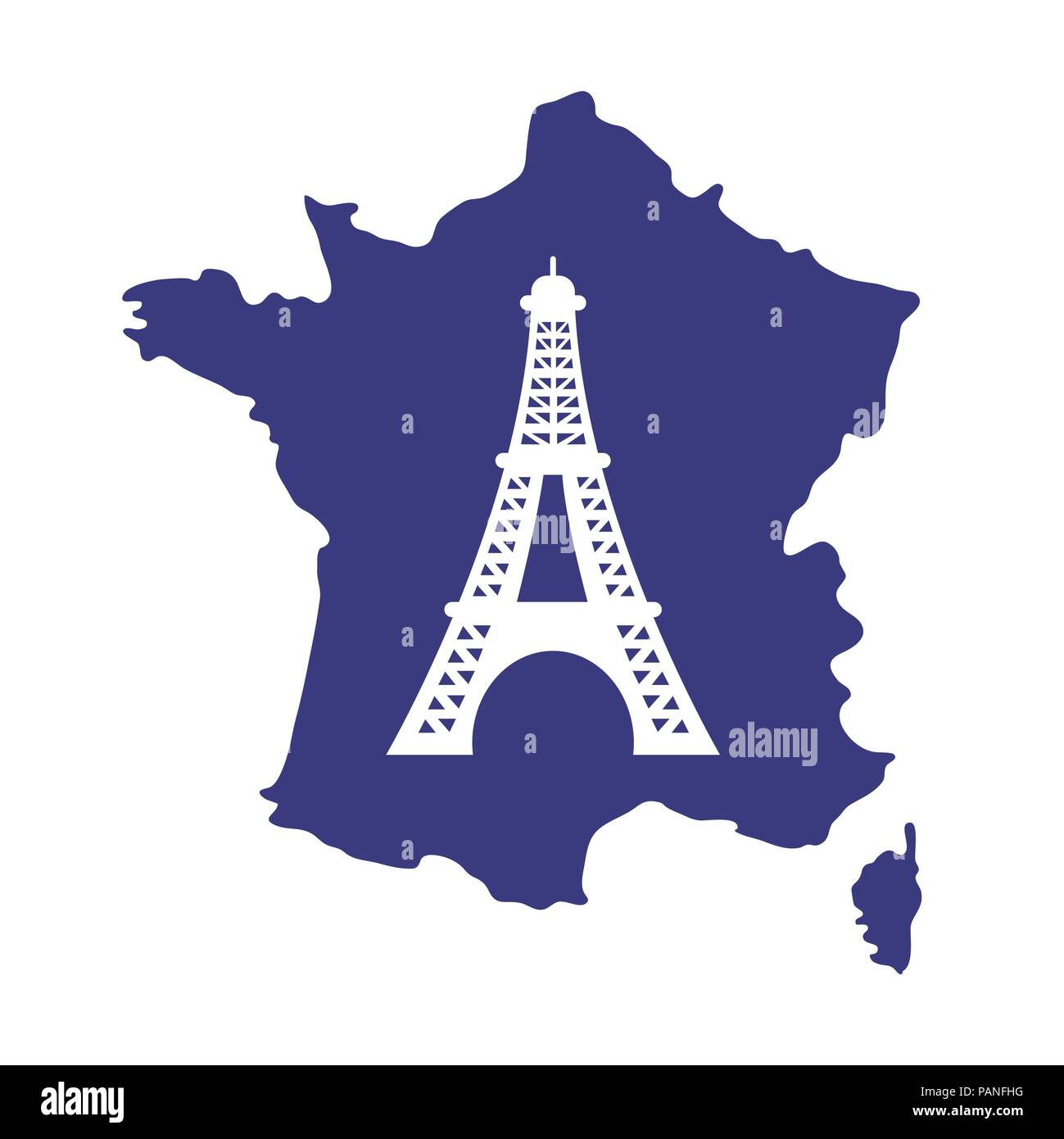 Map Of France Eiffel Tower.France Map With Eiffel Tower Icon Over White Background Colorful