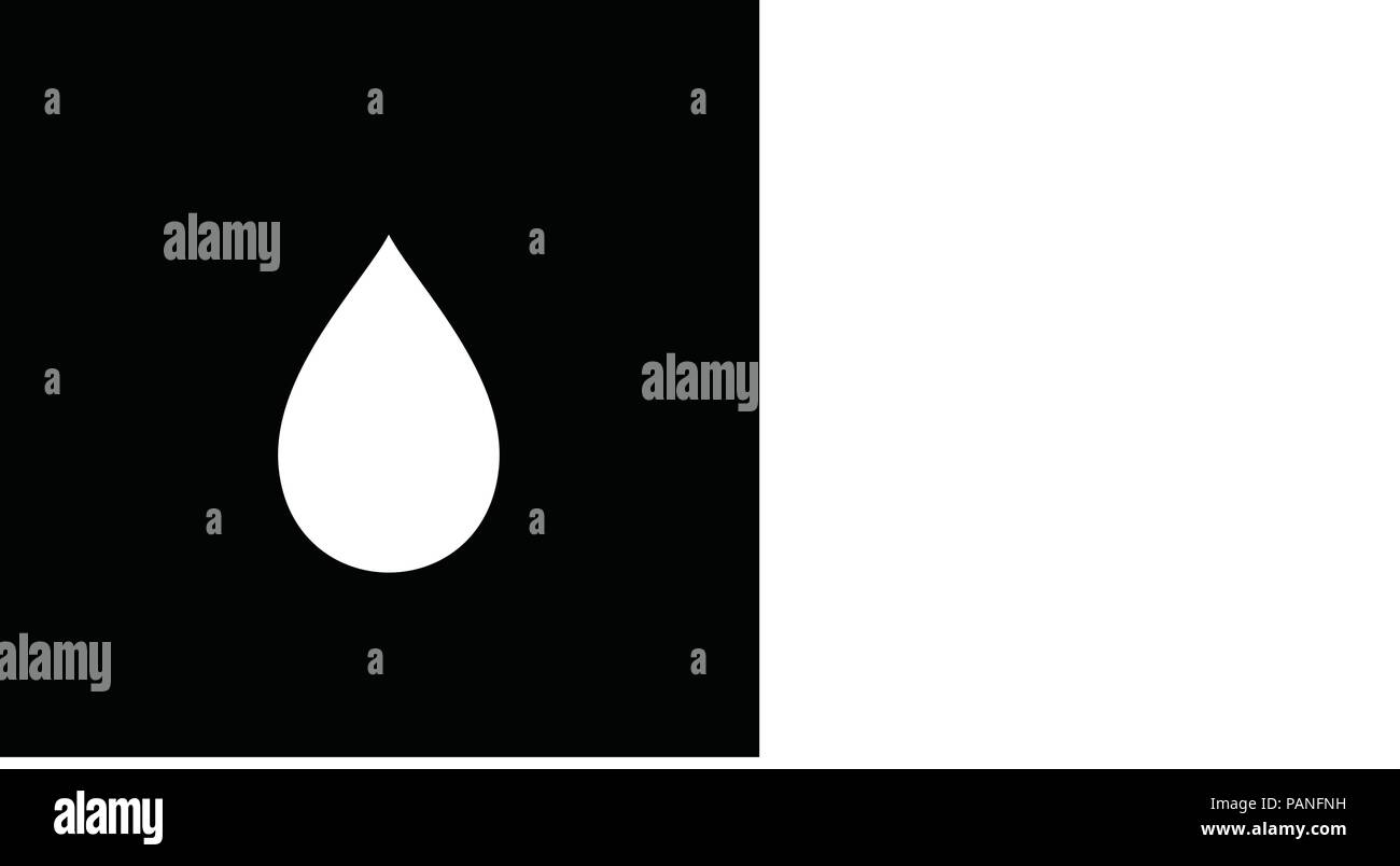 White silhouette of falling droplet icon isolated on black backgroind. Vector illustration, sign, symbol, label, logo, template for design. - Stock Image