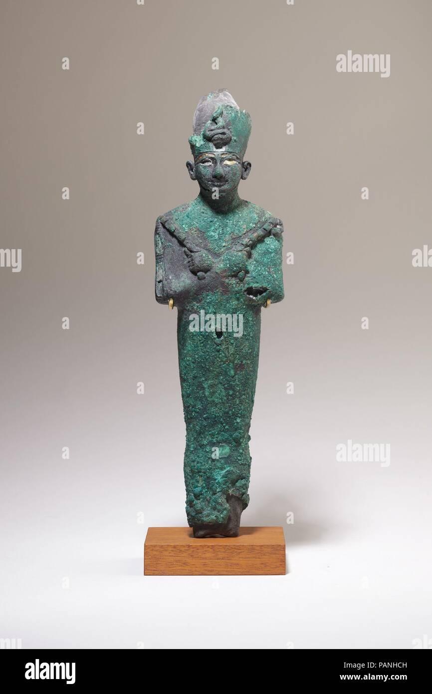 Osiris. Dimensions: 33.2 × 10.1 × 5.6 cm (13 1/16 × 4 × 2 3/16 in.). Dynasty: Dynasty 21-25. Date: ca. 1070-664 B.C.. Museum: Metropolitan Museum of Art, New York, USA. - Stock Image