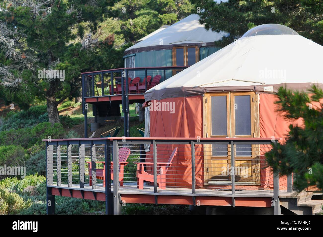 Fabric and wood framed yurt structures for, luxurious