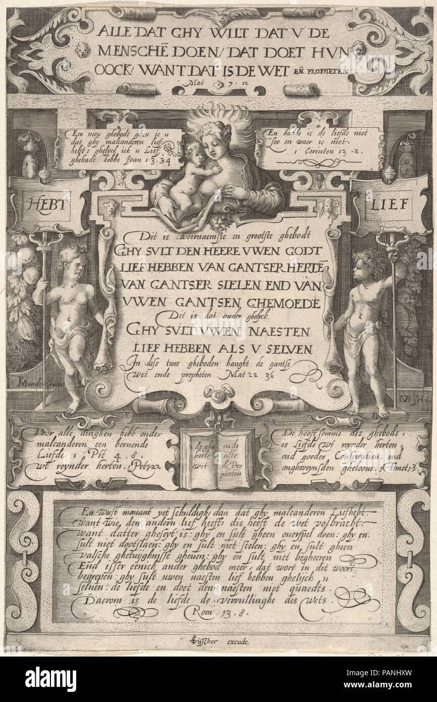The Commandment to Love One Another. Artist: after Karel van Mander I (Netherlandish, Meulebeke 1548-1606 Amsterdam); Gillis van Breen (Netherlandish, active 1595-1622). Dimensions: Sheet: 7 5/8 x 11 3/8 in. (19.4 x 28.9 cm). Publisher: Published by Claes Jansz. Visscher (Dutch, Amsterdam 1586-1652 Amsterdam). Date: 1599. Museum: Metropolitan Museum of Art, New York, USA. - Stock Image