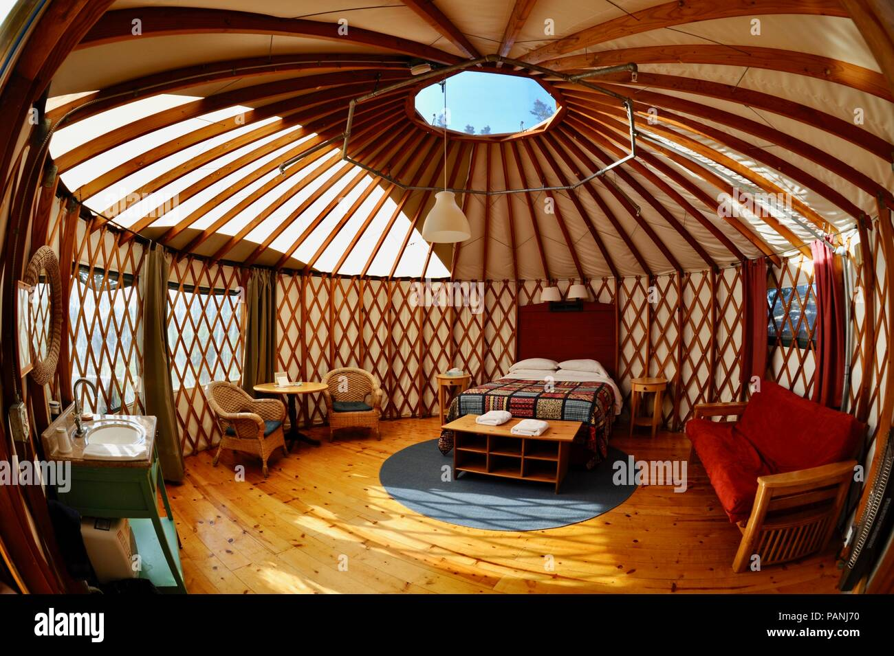 Fabric And Wood Framed Yurt Structures For Luxurious Upscale Glamping Glamorous Camping At Treebones Resort Big Sur California Usa Stock Photo Alamy